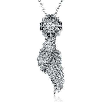 Sterling Silver 2 Piece Necklace- Crystal Angel Wing