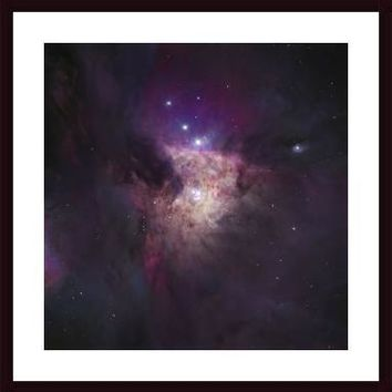 The Center of the Orion Nebula (The Trapezium Cluster), framed black wood, white matte