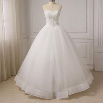 New Corset Wedding Dresses Sweetheart Off The Shoulder Ball Gown Bride Dress Lace Up Back