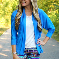 Fall In Cardigan - Light Blue - Restocked