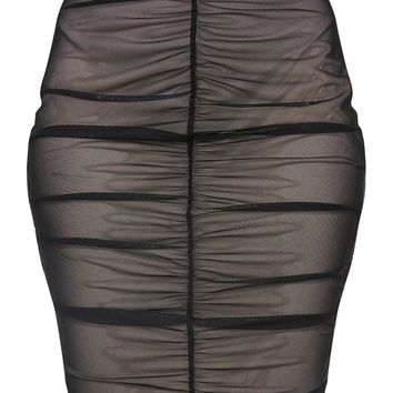 Black Ruched Mesh Midi Skirt