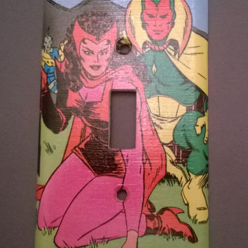 Comic Book superhero Avengers The Vision Scarlet Witch comic light switch cover
