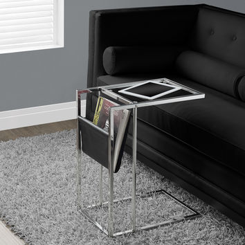 Accent Table - Black - Chrome Metal With A Magazine Rack