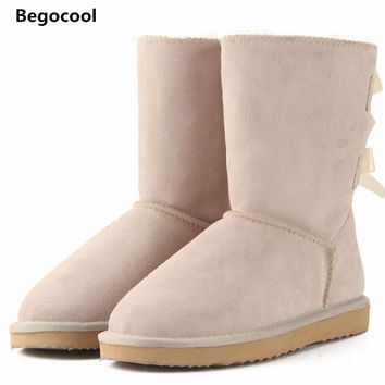 Begocool 2017 High Quality Brand women winter snow boots genuine leather UG snowboots female botas laces for footwear zapatos
