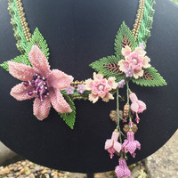 Beaded Statement Flower Necklace
