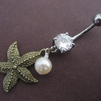 Bronze Starfish Belly Button Ring- Dangly Star Fish Pearl Charm Dangle Navel Piercing