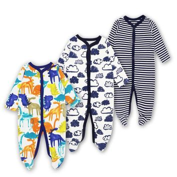3 PCS  100% Cotton Baby Romper Long Sleeves Baby Pajamas Cartoon Printed Newborn Baby Girls Boys Clothes Baby Romper