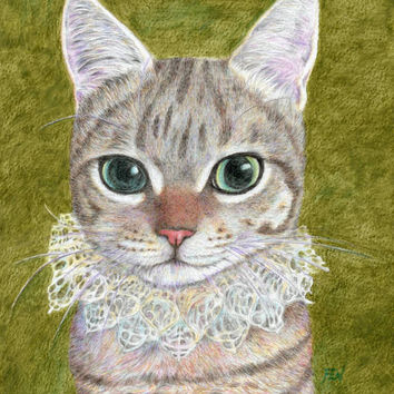 cat art print, a noble cat wearing a ruffled collar, cat in costume drawing, watercolor pencil, cat lover's gift and home decor