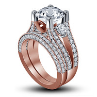2-1/4 CT. T.W. Round-Cut Stone Engagement Ring Set in 14K Rose Gold .925 Silver