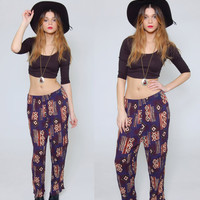 Vintage 80s TRIBAL Print Pants Casual Fit GRAPHIC Hippie Pants Blue Crinkle ETHNIC Festival Summer Pants