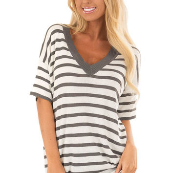 Charcoal and Off White Striped Short Sleeve Sweater