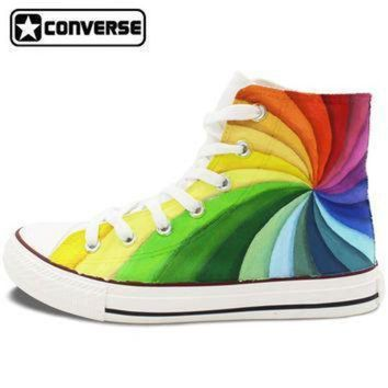 DCCK1IN men womens converse all star hand painted shoes design colorful rainbow vortex canvas