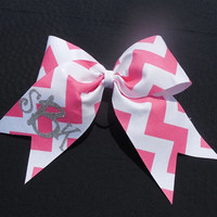 Chevron Cheer Bow with Monogram