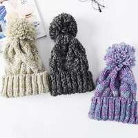 Fashion Knit Thick Slouch Beanie Winter Warm Originality Cap Hat - Gift -64