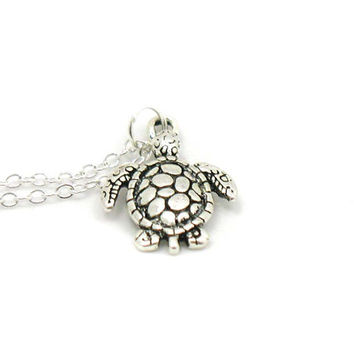 Turtle Necklace, Sea Turtle Necklace, Charm Jewelry, Antique Silver Turtle Necklace, Silver Tortoise Jewelry, Jewelry Gift, Gift Under 10