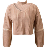 Khaki V-neck Zipper Detail Choker Knit Jumper