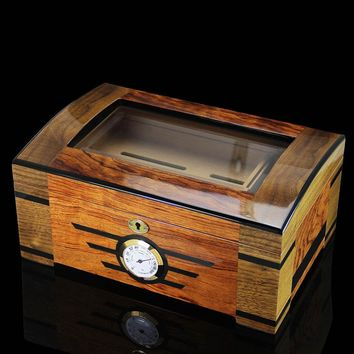 Luxury high-end COHIBA Wooden Cedar Lined Glass Cigar Humidor With Lock Hygrometer Humidifier
