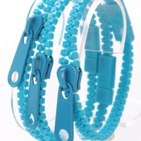 Blue Zipper Decor Bracelet Trio