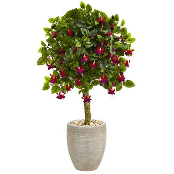 Artificial Tree -3 Foot Fuschia Tree In Sand Colored Oval Planters