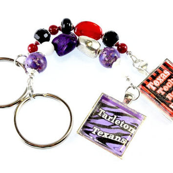 Team Spirit Keychains Custom Order Texas A&M, Baylor, Texas Tech, University of Texas, Tarleton, Cowboys, Rangers