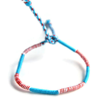 Sparkly White, Red and Blue, Friendship Bracelet and Anklet, Red, White and Blue Wanderlust Friendship Anklets