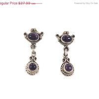 ON SALE Amethyst Sterling Silver Earrings - Vintage Deep Purple Stones - Ethnic Boho - InVintageHeaven