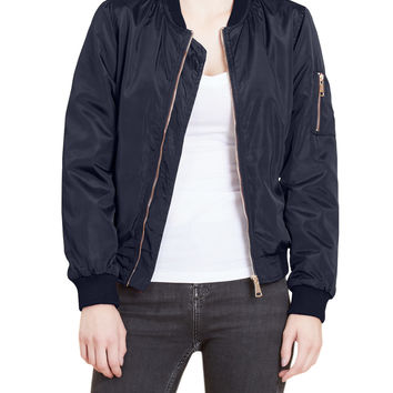 LE3NO Womens Classic Faux Fur Lining Zip Up Bomber Jacket with Pockets