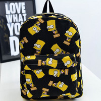 Bart Simpson Backpacks Preppy Style School Bags for Teenagers Girls Fashion Women Canvas Printing Backpacks Satchel Mochilas