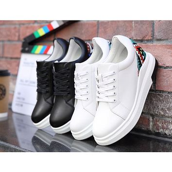 Women Sneakers fashion white Platform Shoes Genuine Leather Lace up Ladies Vintage Stitching Cute Spring Casual Shoes