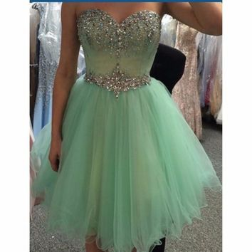 Popular 2016 Crystals Short Cocktail Dress 2016 Mint Green Sweetheart Sleeveless Mini Tulle Homecoming Dresses
