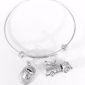 Adjustable Bangle Charm Bracelet Fire Truck Hat Firefighter Wife Mom Gift