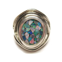 Opal Chip Inlay Sterling Ring Size 6