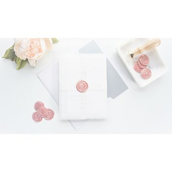 Minimal Pink Vellum and Wax Seal Wedding Invitation - DEPOSIT
