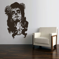 Wall Decal Vinyl Sticker Decals Art Decor Skull Tattoo girl Sunglasses Victorian Zombi Makeup Hair Salon Studio Bedroom Gift Dorm (z3138)