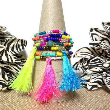 6 Multi Layer Stretch Multi-color Layer Bracelets, Neon Pink, Blue & Yellow Thread Tassel Multi Layer Stretch Bracelets USA Seller. gift
