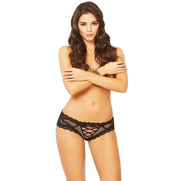 Sexy House of Cards Lace and Net Lace-Up Keyhole Panty