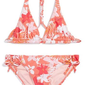 Girl's Roxy 'Paradise Bound' Two-Piece Swimsuit