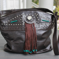 Western Leather Handbag, Leather Purse, Tassle Indian Tote