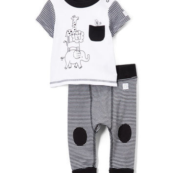 White Giraffe Top & Stripe Leggings - Infant