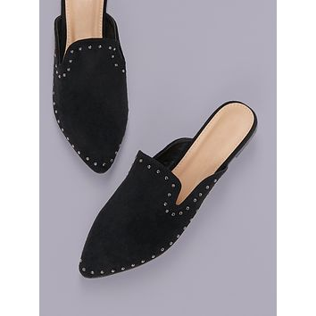 Stud Detail Pointed Toe Flat Mules