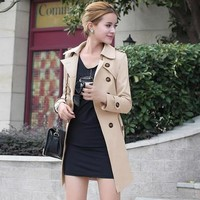 2017 London Fashion Brand double breasted leather buckle Trench Classic European Trench Coat Double Breasted Women Pea Coat