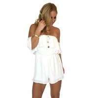 Bold Shoulder Romper In Ivory