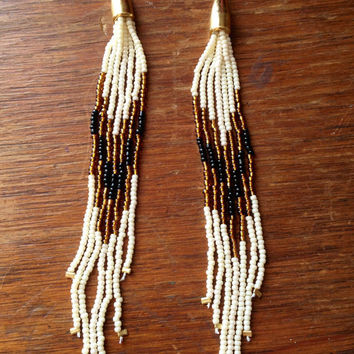 Seed Bead Earrings, Fringe Earrings, Long Earrings, Shoulder Dusters, Native American Earrings, Tribal Earrings, Dangly Earrings