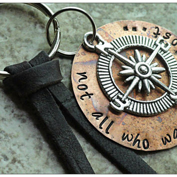Not All Who Wander Are Lost Copper Disc Compass Charm Hand Stamped Key Chain Key Fob Key Ring