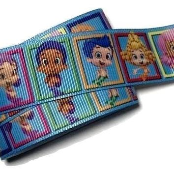 "Blue Bubble Guppies printed 1"" grosgrain ribbon"