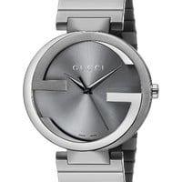 Gucci Men's YA133210 Gucci Interlocking Collection Analog Display Swiss Quartz Grey Watch