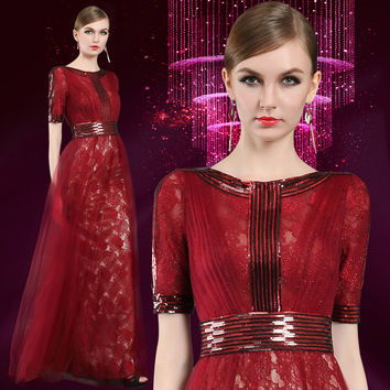 Don's Bridal Wine Red Embroidery Prom at BAFTA Awards Carpet Dress Host Dress Half Sleeve Party Gown High Neck Celebrity Dresses