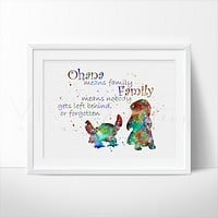 Lilo & Stitch Quote Watercolor Art Print