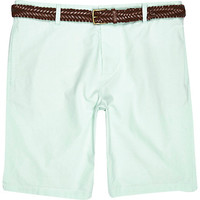 River Island MensGreen Oxford belted shorts