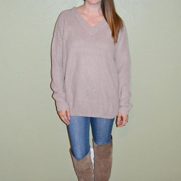 Living On the Edge Back Tie Sweater: Light Mauve